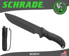 "Schrade Fixed Blade Knife 7"" Blade Full Tang 1095 Carbon TPE Handle Pouch SCHF37"