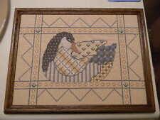 Framed Nancy Bombard Cross Stitch Patchwork Goose Sampler Folk Art 13x10 Jca New