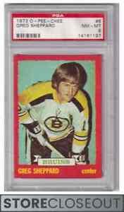 1973-74 O Pee Chee #8 Greg Sheppard PSA 8 NM-MT Boston Bruins