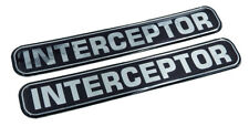 "Interceptor, Police, Domed Decal Emblem chrome car biker stickers 5""x 0.82"" 2pc."