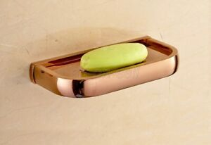 Rose Gold Brass Wall Mounted Bathroom Soap Dish Storage Holder aba870