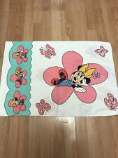 VTG Disney Minnie Mouse Pillow Case White Floral Pink Scallops