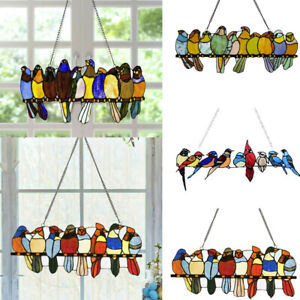 Bird Species Stained Pendant Window Hanging Suncatcher Acrylic Birds Hanging UK