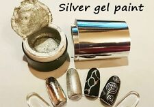 Silver Gel paint Farbgel 5 ml and 1m Silver Foil for Nail Art like Emi