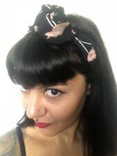 Bandeau foulard cheveux rigide cordon maléable noir à flamants roses flamingos