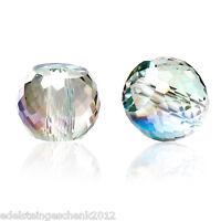 30 Glas Perlen Rund Mehrfarbig Transparent Facettiert Beads zum Basteln 8mm