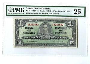 1937 $1 CANADA PMG 25 BC-21c BANKNOTE J/M 8283682 GORDON TOWERS