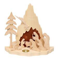 Natur Holz Krippe Heilige Krippe 32 cm Weihnachtskrippe mit Figuren Neu