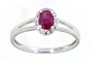Solid 14K White Gold Ruby Gemstone Real Halo Diamond Oval Ring Jewelry 0.52CT