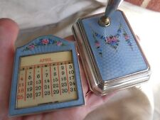 ANTIQUE STERLING GUILLOCHE ENAMEL ROSES FLORAL CALENDAR PEN HOLDER DESK SET