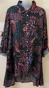 VIRTULLE TAKING SHAPE 'Eden Gardens Shirt' Hi-Lo,Button Front -16-NWTrrp $119.95