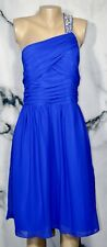 ALFRED ANGELO Blue One Shoulder Dress 16 Ruched Bodice Jeweled Strap Lined