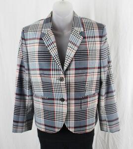 Thom Browne Women's Blue Red Multi Color Plaid Blazer Jacket Size 44 8