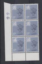 Wales. W44ey. Type II. 17p grey/blue cylinder block x 6. Superb unmounted mint.
