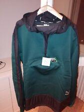 Felpa PUMA EVO Nuova con etichetta, XL, verde cappuccio tasca canguro,antivento