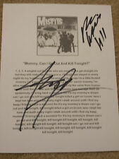 Misfits Mommy,Can I Go Out and Kill Tonight? Signed Autograph Lyric Sheet #E