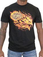 Harley-Davidson Mens Blazing Flames Eagle Black Short Sleeve Biker T-Shirt