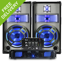 """2x Skytec 10"""" Party PA Speakers + Amplifier + Mixer + Cables DJ System 800W"""