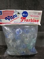 Vintage Marble Bag Vitro Agate USA 45 + 1 Large Clear Blue Green Swirl New