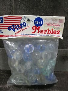 Marble Bag Vitro Agate USA 45 + 1 Large Clear Blue Green Swirl New Vintage