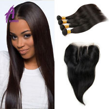Brazilian Straight Hair with closure hair weave 3 bundles with closure US stock