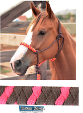 Classic Equine Horse Two Tone Rope Halter with 8' Lead Chocolate Fuchsia