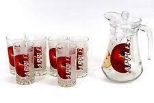 Omroc 7 Piece Glass Water Set (NEW) 1.5 litre Jug & 6 Tumblers (225ml) - Apple