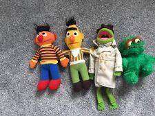 Vintage 1980s Sesame Street Reporter Kermit Bert Ernie Oscar Stuffed Muppets