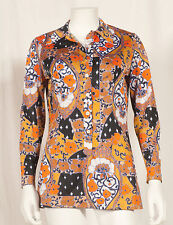 60'S FRENCH VINTAGE PARTY PRINT TUNIC UK 8/10