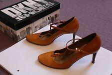 Auténtico Dkny Bronceado Cuero Correa T Tribunal Zapatos Talla 6.5