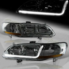 For 1998-2002 Honda Accord DRL LED Smoke Lens Headlights W/Amber Reflector Lamps