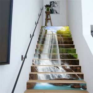 13Pcs Stair Riser Staircase Stickers 3D Mural Decals Self Adhesive