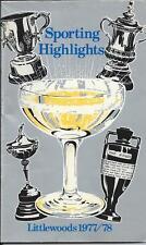 1977-78 LITTLEWOODS SPORTING HIGHLIGHTS POCKET GUIDE