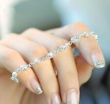 Women Silver Charm Cute roses Chain Bracelet Jewelry