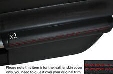 RED STICH 2X DOOR ARMREST LEATHER SKIN COVERS FITS TOYOTA MR2 MK3 2000-2007