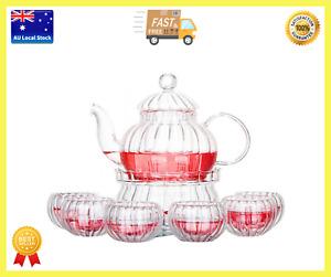 8 Piece Tea Set Glass Pumpkin Teapot 600ml + Pumpkin Warmer + 6 Pumpkin Tea Cups