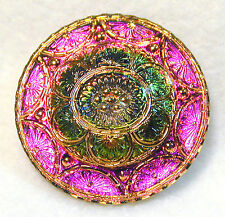 Lacy Glass Button Antique Mold Pink & Green w/ Gold Trim FREE US SHIPPING