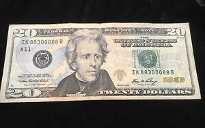 Fancy Rare Serial Number 20$ Bill IK 88300088 B 98% Cool Factor Series 2006