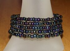 Versatile Metallic Glass Beaded Wrap / Coil / Bangle Bracelet - USA Made- Beads