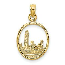 LCON279GOLD Chicago Skyline Connector Charm Gold Stainless Steel Bar
