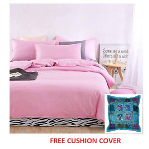 Cotton Solid Colour Double Bedsheet with 2 Pillow Covers With Free Cushion Cover