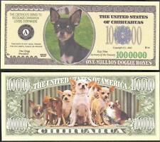 Chihuahua Dog Million Dollar Bill Fake Funny Money Novelty Note + Free Sleeve