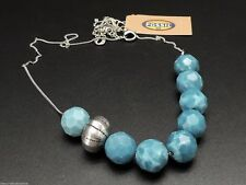 Fossil Bead Necklace Strand Silvertone Chain Blue Resin Beads New! NWT