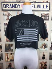 brandy melville Cropped black wash AC/DC band tour Rock Music top Shirt NWOT