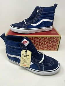 Vans SK8-Hi MTE Leather Navy Blue / True White Shoes men's us Size 11.5
