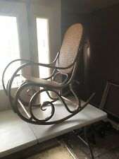 ACTUAL SIGNED Thonet Poland Bentwood & Woven Cane Rocking Chair Rocker MCM