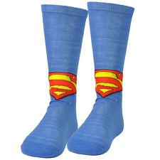Superman Long Sock Size 6-12 Super Hero DC Comic Book Cartoon Blue Warner Bros