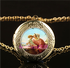 Mary & Jesus Photo Cabochon Glass Gold Plating Locket Pendant Necklace