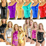 Womens Wet Look Sleeveless Blouse T-Shirt Bodycon Yoga Sports Crop Tank Top Vest