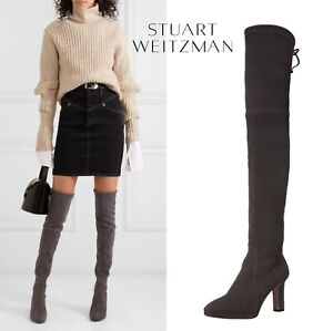 Stuart Weitzman Ledyland Over The Knee Boot Platform Heel Gray Suede US 10.5